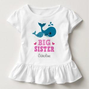 Big sister tee shirt with cute cartoon whales