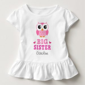 Big sister tee shirt with pink owl and custom name