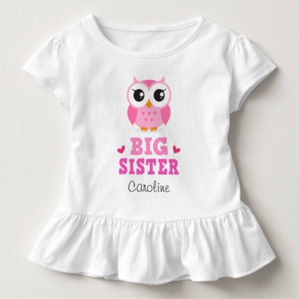 Big sister tee shirt with pink owl and custom name