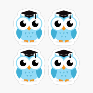 Stickers: blue graduation owls with mortar board cap