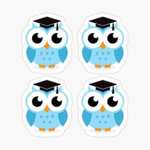 Stickers: blue graduation owls with mortar board cap