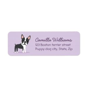 Boston terrier cute cartoon return address labels