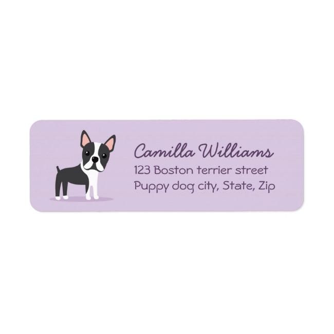 Boston terrier cute cartoon return address labels