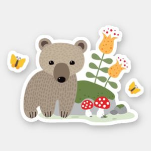 Product: cute sticker featuring a little brown bear cub standing next to flowers and mushrooms