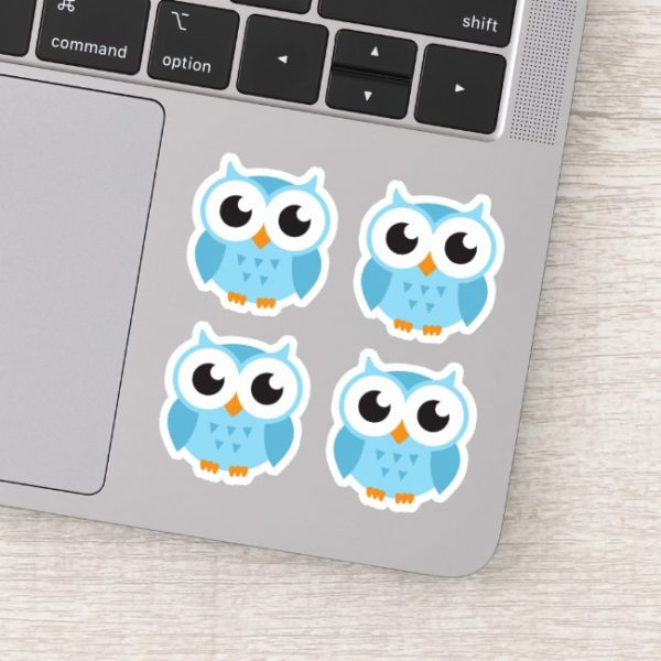 Product: set of four cute, blue cartoon owl stickers