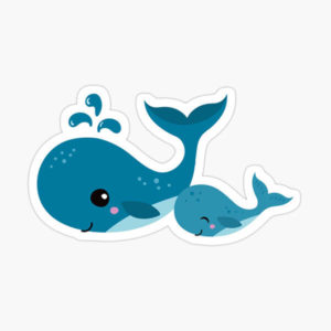 Cute mommy and baby whale sticker