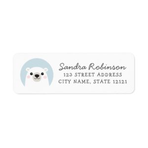 Return address labels featuring a cute, white polar bear cub