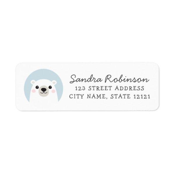 Return address labels featuring a cute, white polar bear cub