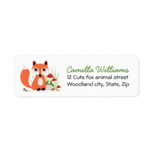 Cute woodland fox return address labels