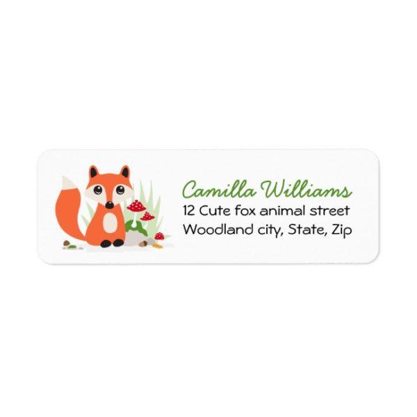 Cute woodland fox return address labels