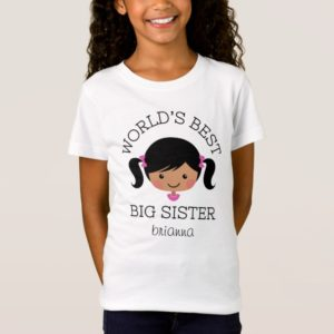 Cute worlds best big sister tee shirt with african american girl