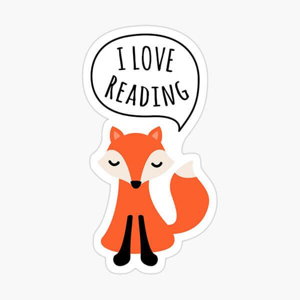 I love reading sticker with cute cartoon fox
