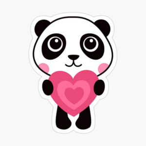 Sticker featuring a cute panda bear holding a pink heart