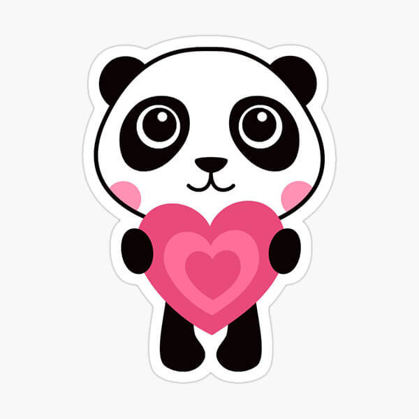 Sticker featuring a cute panda bear holding a pink heart