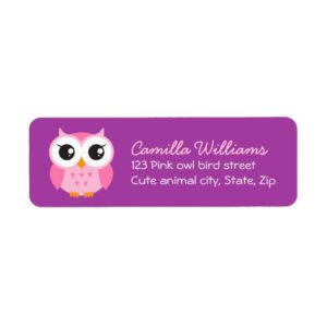 Pink owl on purple background return address labels