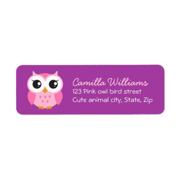 Pink owl on purple background return address labels