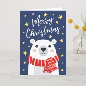 A Christmas card with a white polar bear wearing a red scarf. Cute and whimsical style
