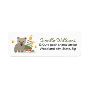 Woodland bear cub return address labels