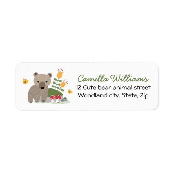 Woodland bear cub return address labels